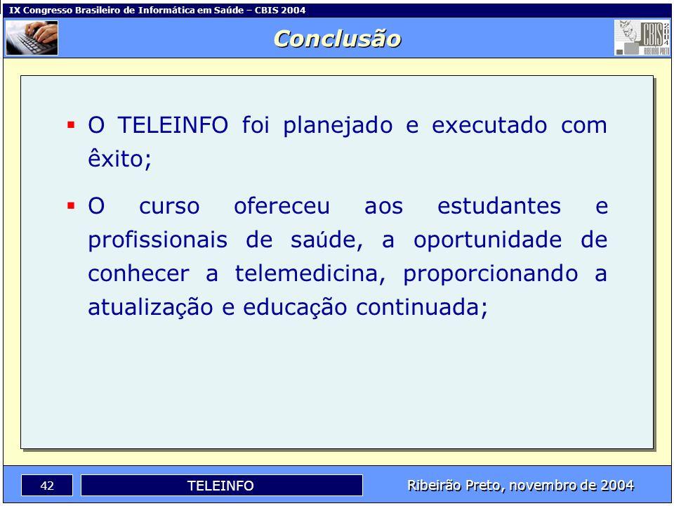 IX Congresso Brasileiro de Informática em Saúde – CBIS 2004 41 Ribeirão Preto, novembro de 2004 TELEINFO Você recomenda este curso para outras pessoas