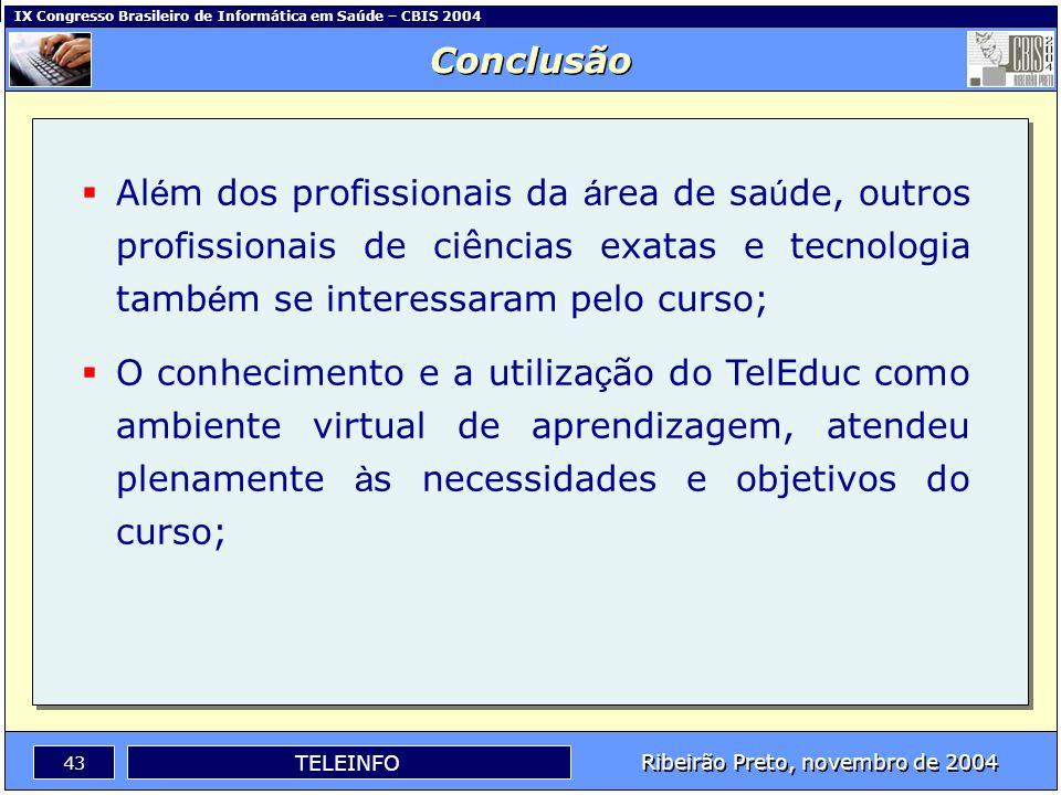 IX Congresso Brasileiro de Informática em Saúde – CBIS 2004 42 Ribeirão Preto, novembro de 2004 TELEINFO O TELEINFO foi planejado e executado com êxit