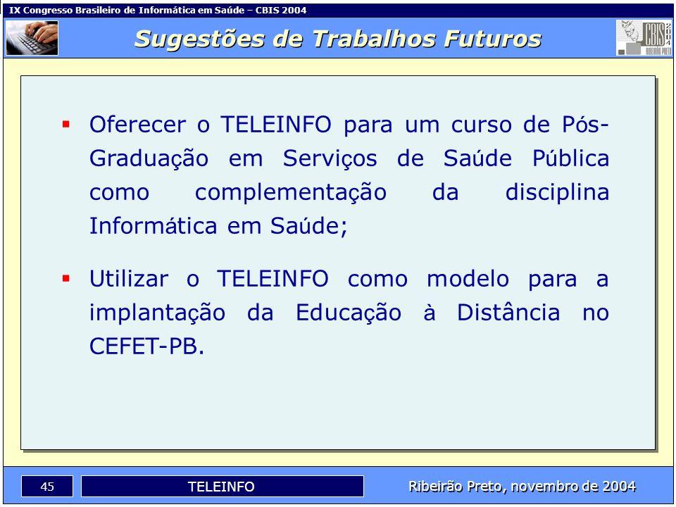 IX Congresso Brasileiro de Informática em Saúde – CBIS 2004 44 Ribeirão Preto, novembro de 2004 TELEINFO O ambiente de aprendizagem foi avaliado como