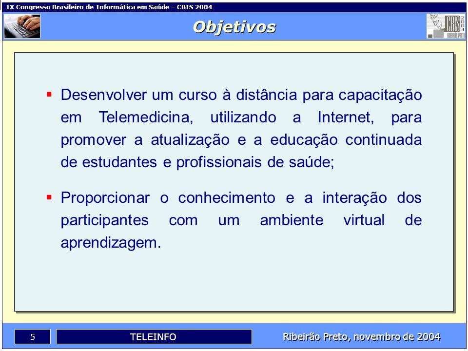 IX Congresso Brasileiro de Informática em Saúde – CBIS 2004 4 Ribeirão Preto, novembro de 2004 TELEINFO Instituições Participantes