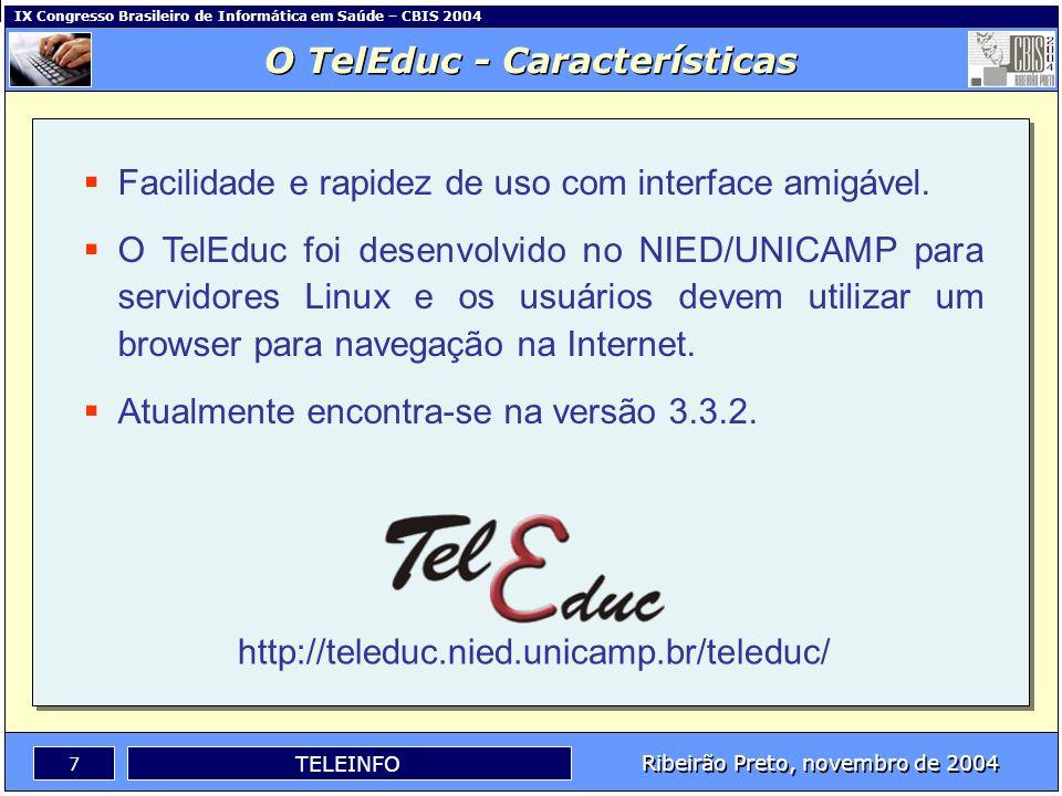 IX Congresso Brasileiro de Informática em Saúde – CBIS 2004 6 Ribeirão Preto, novembro de 2004 TELEINFO O TelEduc - Características Um software coloca