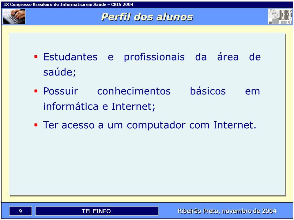 IX Congresso Brasileiro de Informática em Saúde – CBIS 2004 8 Ribeirão Preto, novembro de 2004 TELEINFO O TelEduc - Arquitetura Mural Fóruns de Discus