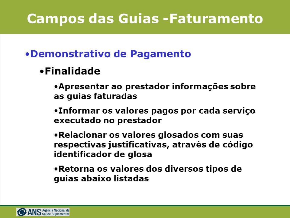 Campos das Guias -Faturamento Outras despesas Informações complementares, se necessária maior quantidade de campos para a finalização do faturamento