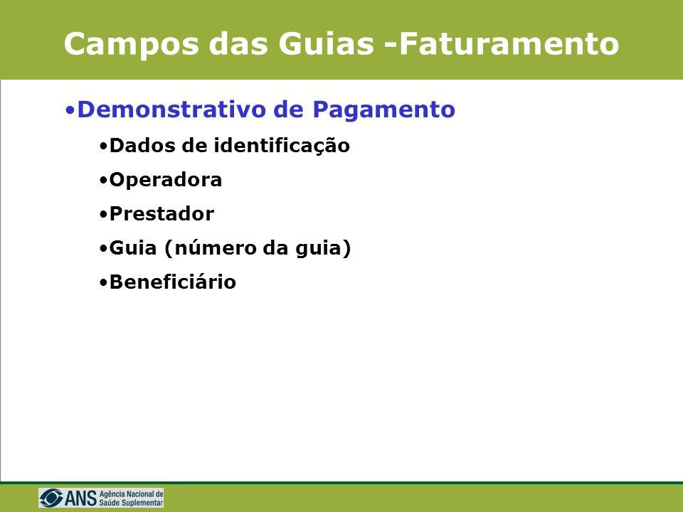 Campos das Guias -Faturamento Demonstrativos de Pagamento São dois formulários Demonstrativo de pagamento Demonstrativo de Pagamento –Resumo