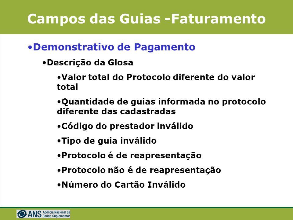 Campos das Guias -Faturamento Demonstrativo de Pagamento Atendimento (código, descrição e quantidade dos procedimentos) Valor Processado Glosa Liberad