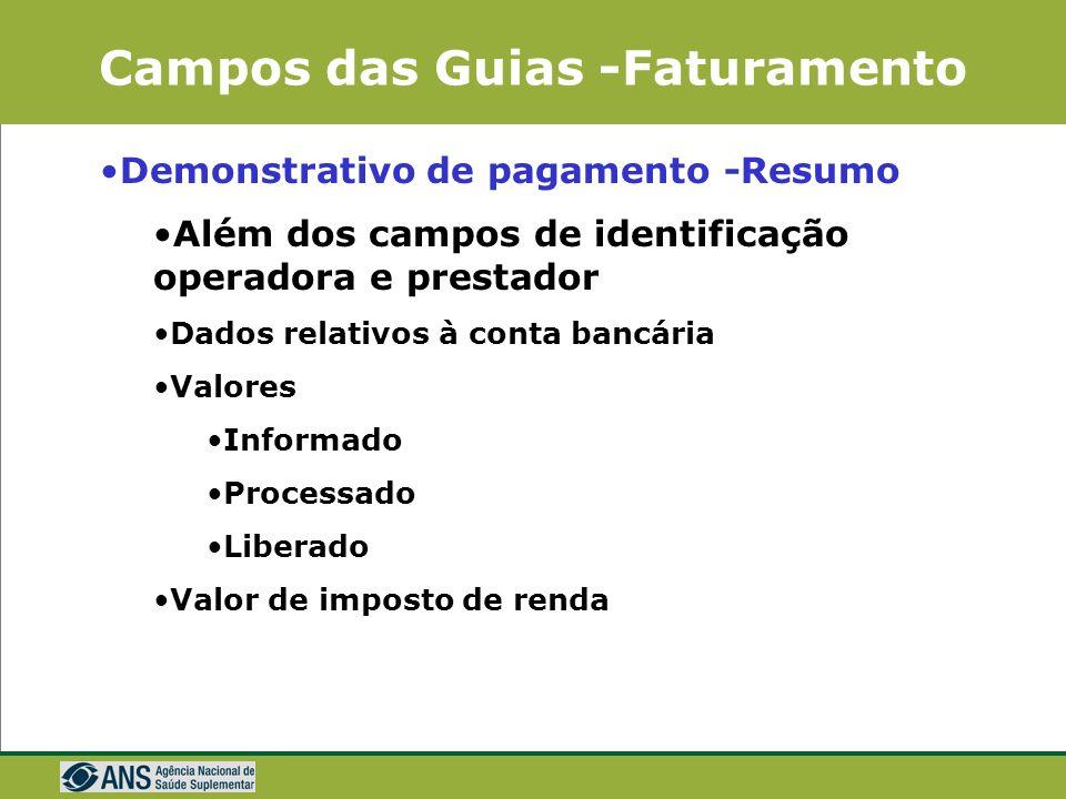 Campos das Guias -Faturamento Demonstrativo de Pagamento Descrição da Glosa Atendimento anterior a inclusão do Beneficiário Atendimento após o desliga