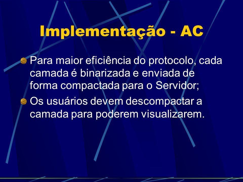 Implementação - AC Para maior eficiência do protocolo, cada camada é binarizada e enviada de forma compactada para o Servidor; Os usuários devem descompactar a camada para poderem visualizarem.