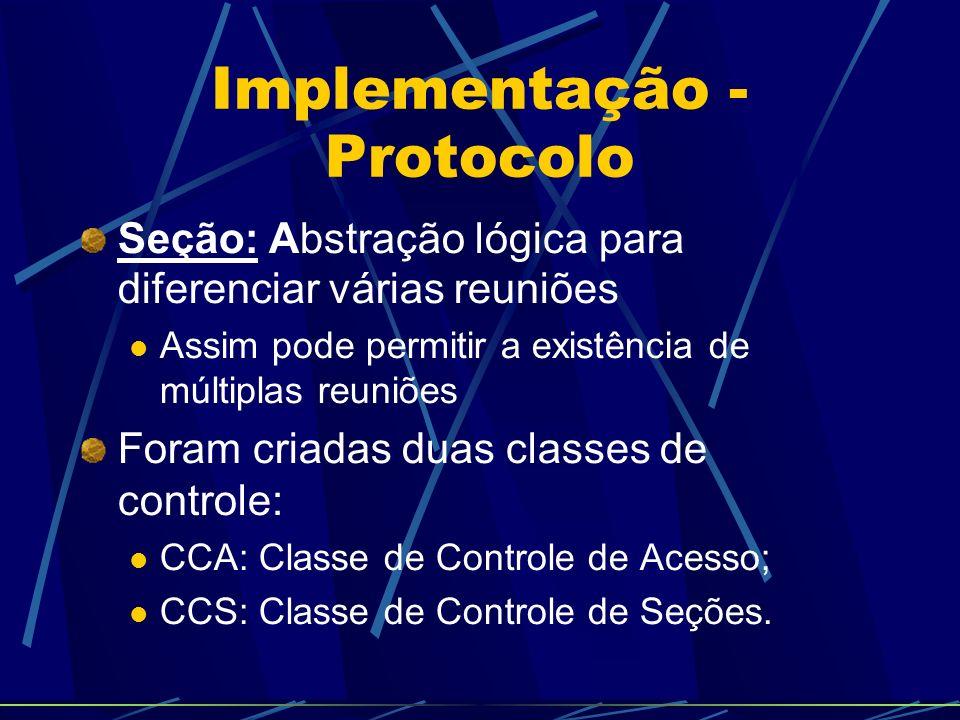 Implementação - Protocolo Seção: Abstração lógica para diferenciar várias reuniões Assim pode permitir a existência de múltiplas reuniões Foram criada