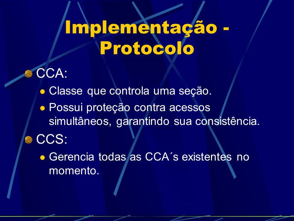 Implementação - Protocolo Diagrama de Classes: A CCS e as CCA são inteiramente localizadas no servidor para evitar inconsistências; Usuários mantém cópia local de sua respectiva CCA para visualização.