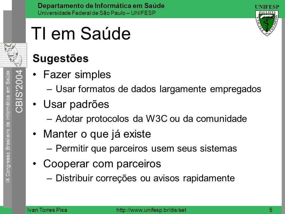 IX Congresso Brasileiro de Informática em Saúde CBIS 2004 UNIFESP Departamento de Informática em Saúde Universidade Federal de São Paulo – UNIFESP Ivan Torres Pisahttp://www.unifesp.br/dis/set6 TI em Saúde Atendimento à Saúde Prontuário Eletrônico Sistema de Informação Hospitalar (HIS) –Financeiro (FIS) –Gerenciamento (MIS) –Clínico (CIS) –Enfermagem (NIS) –Farmácia (PIS) –Radiologia (RIS)