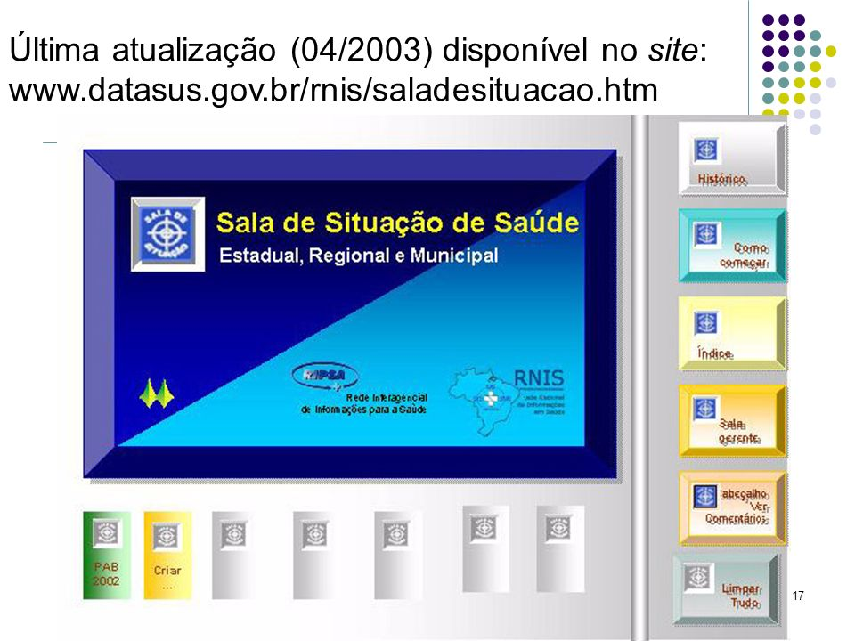 17 Última atualização (04/2003) disponível no site: www.datasus.gov.br/rnis/saladesituacao.htm