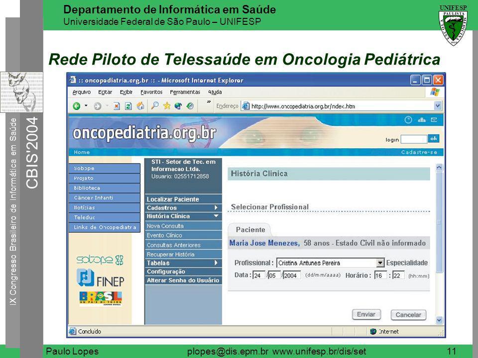 IX Congresso Brasileiro de Informática em Saúde CBIS 2004 UNIFESP Departamento de Informática em Saúde Universidade Federal de São Paulo – UNIFESP Paulo Lopesplopes@dis.epm.br www.unifesp.br/dis/set12 Centro de Diagnóstico Virtual em Oftalmologia Coordenação Nacional de DST/AIDS do Ministério da Saúde (MS).