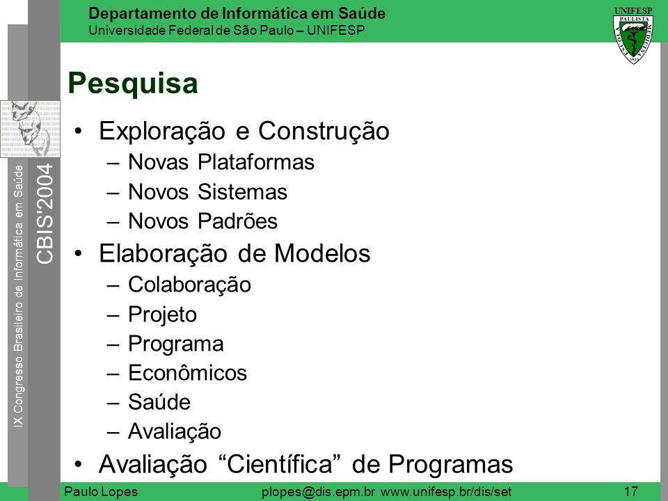 IX Congresso Brasileiro de Informática em Saúde CBIS 2004 UNIFESP Departamento de Informática em Saúde Universidade Federal de São Paulo – UNIFESP Paulo Lopesplopes@dis.epm.br www.unifesp.br/dis/set18 Parcerias Internos: –Setor de Rede de Computadores (http://www.unifesp.br/dis/lrc);http://www.unifesp.br/dis/lrc –Setor de Tecnologia de Informação (http://www.disacad.unifesp.br);http://www.disacad.unifesp.br –Laboratório de Educação a Distância (http://www.virtual.unifesp.br);http://www.virtual.unifesp.br –Centro Alfa de Humanização do Ensino em Medicina (http://alfa.epm.br);http://alfa.epm.br –Departamento de Oftalmologia (http://www.unifesp.br/doftalmo);http://www.unifesp.br/doftalmo –Departamento de Diagnóstico por Imagem (http://www.unifesp.br/ddi);http://www.unifesp.br/ddi Externos: –Laboratório de Sistemas Integráveis (LSI), Escola Politécnica, Universidade de São Paulo (USP) (http://lsi.usp.br);http://lsi.usp.br –Instituto do Coração do Hospital das Clínicas (InCor), Universidade de São Paulo (USP) (http://www.incor.usp.br);http://www.incor.usp.br –Departamento de Física e Matemática (DFM), Faculdade de Filosofia, Ciências e Letras de Ribeirão Preto (FFCLRP), Universidade de São Paulo (USP) (http://dfm.ffclrp.usp.br), em particular, os grupos de pesquisa Laboratório de Computação de Imagens Médicas (ImagCom) e Laboratório de Sistemas Neurais (SisNe).http://dfm.ffclrp.usp.br
