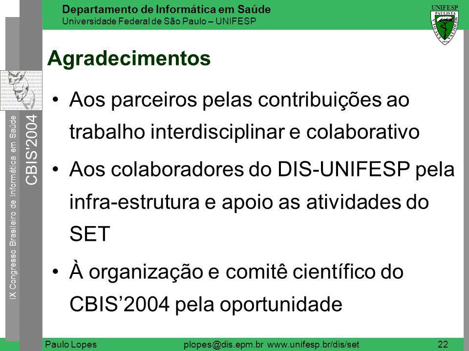 IX Congresso Brasileiro de Informática em Saúde CBIS 2004 UNIFESP Departamento de Informática em Saúde Universidade Federal de São Paulo – UNIFESP Paulo Lopesplopes@dis.epm.br www.unifesp.br/dis/set23 Questões .