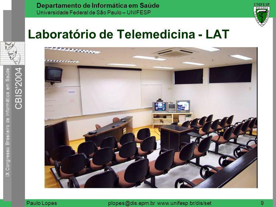 IX Congresso Brasileiro de Informática em Saúde CBIS 2004 UNIFESP Departamento de Informática em Saúde Universidade Federal de São Paulo – UNIFESP Paulo Lopesplopes@dis.epm.br www.unifesp.br/dis/set10 Laboratório de Telemedicina - LAT Videoconferência Video streaming (ao vivo, VOD) Webconferência