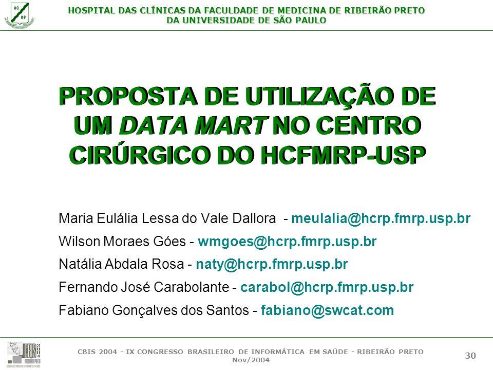 HOSPITAL DAS CLÍNICAS DA FACULDADE DE MEDICINA DE RIBEIRÃO PRETO DA UNIVERSIDADE DE SÃO PAULO CBIS 2004 - IX CONGRESSO BRASILEIRO DE INFORMÁTICA EM SA