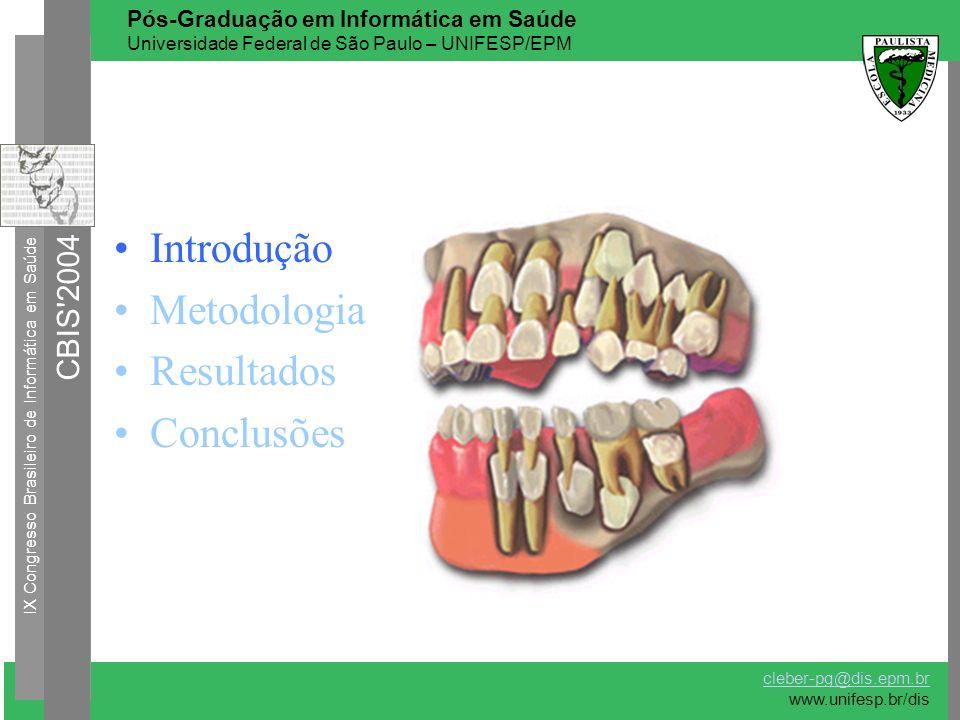 Introdução Metodologia Resultados Conclusões IX Congresso Brasileiro de Informática em Saúde CBIS'2004 cleber-pg@dis.epm.br www.unifesp.br/dis Pós-Gra