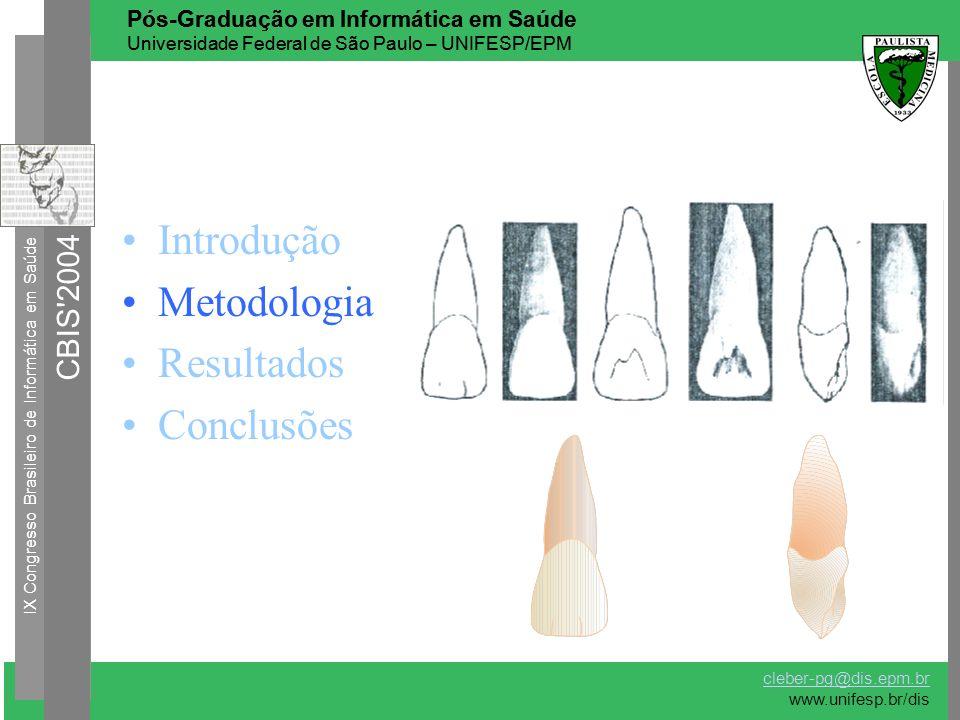 Introdução Metodologia Resultados Conclusões IX Congresso Brasileiro de Informática em Saúde CBIS'2004 Pós-Graduação em Informática em Saúde Universid