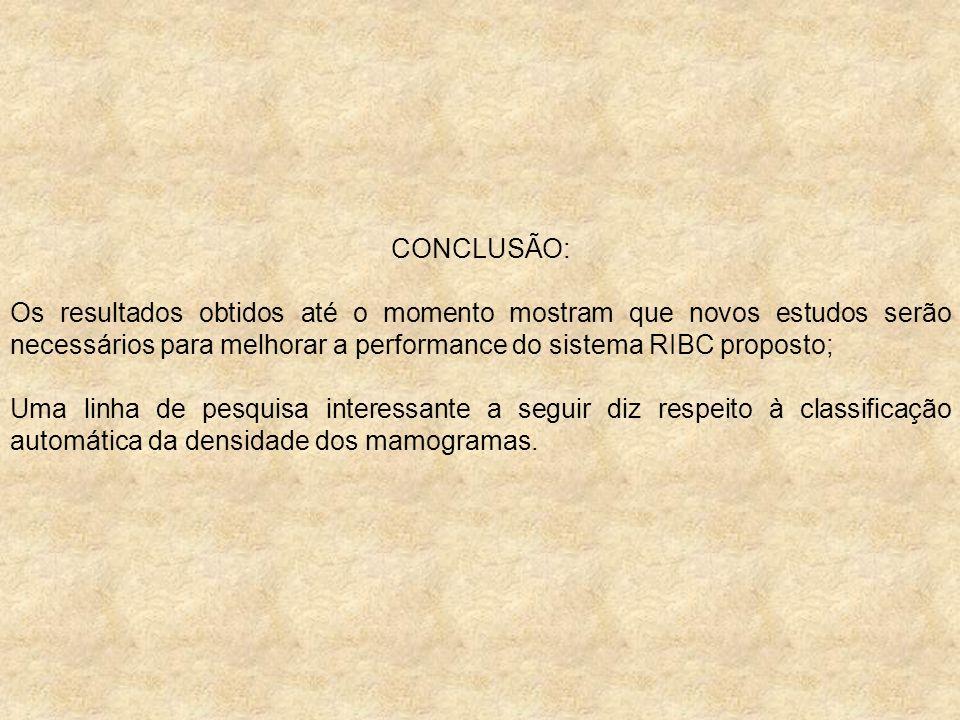 CONCLUSÃO: Os resultados obtidos até o momento mostram que novos estudos serão necessários para melhorar a performance do sistema RIBC proposto; Uma l
