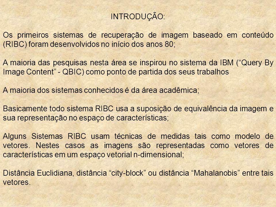 INTRODUÇÃO: Os primeiros sistemas de recuperação de imagem baseado em conteúdo (RIBC) foram desenvolvidos no início dos anos 80; A maioria das pesquis