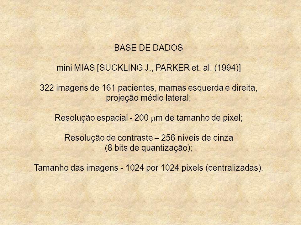 BASE DE DADOS mini MIAS [SUCKLING J., PARKER et. al. (1994)] 322 imagens de 161 pacientes, mamas esquerda e direita, projeção médio lateral; Resolução