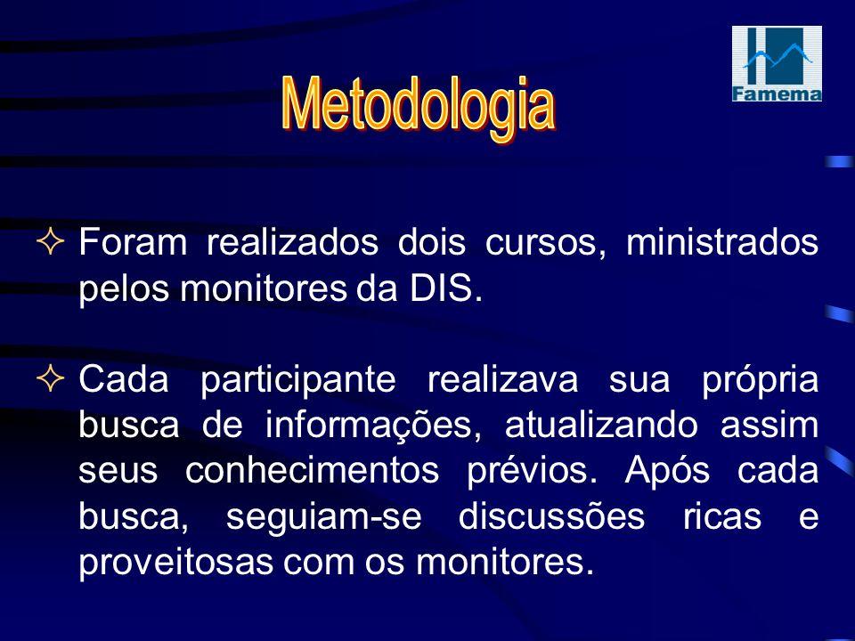 Foram realizados dois cursos, ministrados pelos monitores da DIS.