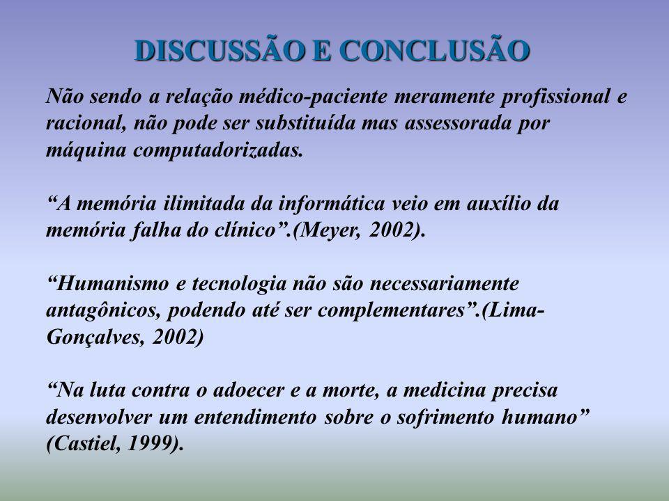 DISCUSSÃO E CONCLUSÃO Não sendo a relação médico-paciente meramente profissional e racional, não pode ser substituída mas assessorada por máquina comp