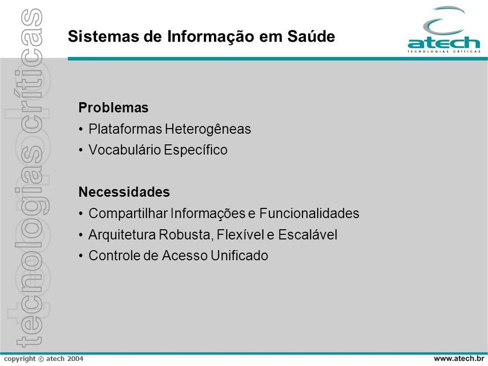 copyright © atech 2004 Sistemas de Informação em Saúde Problemas Plataformas Heterogêneas Vocabulário Específico Necessidades Compartilhar Informações
