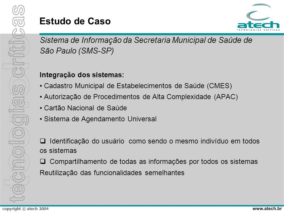 copyright © atech 2004 Estudo de Caso Sistema de Informação da Secretaria Municipal de Saúde de São Paulo (SMS-SP) Integração dos sistemas: Cadastro M