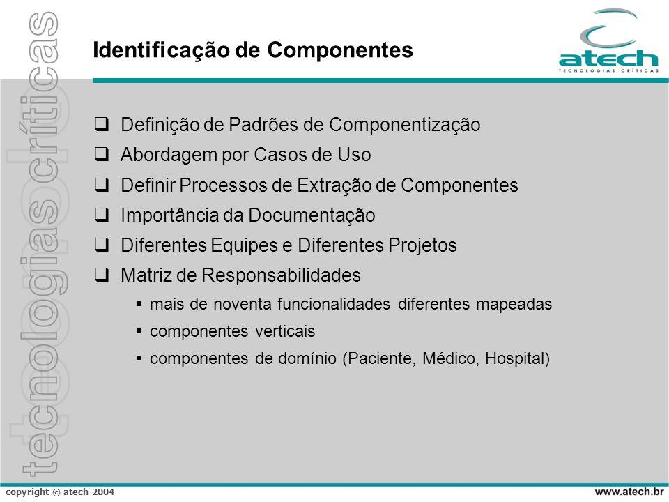 copyright © atech 2004 Identificação de Componentes Definição de Padrões de Componentização Abordagem por Casos de Uso Definir Processos de Extração d