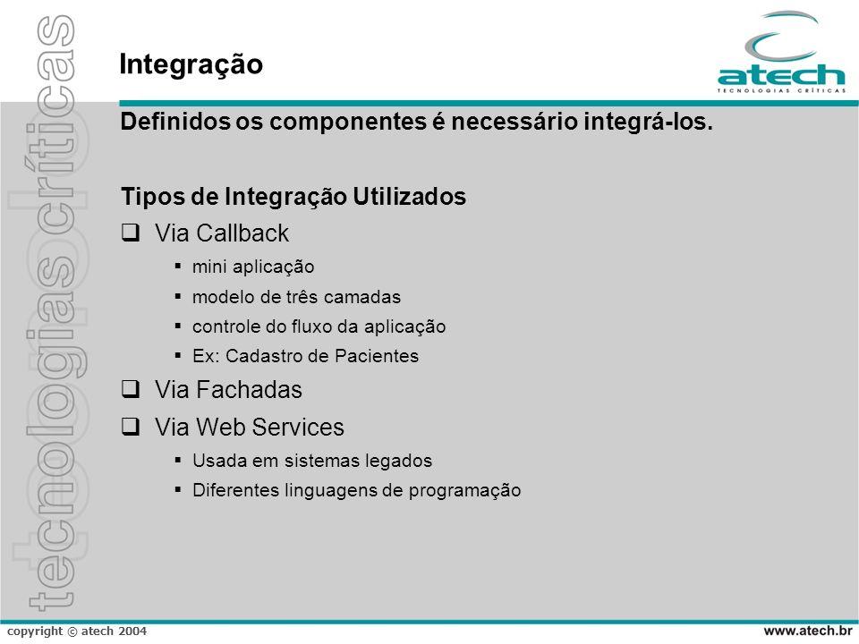 copyright © atech 2004 Integração Definidos os componentes é necessário integrá-los. Tipos de Integração Utilizados Via Callback mini aplicação modelo