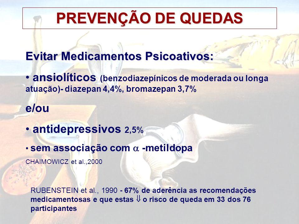 PREVENÇÃO DE QUEDAS CLOSE et al., 1999; Lancet 353:93-97 Ensaio clínico randomizado Idosos: serviço de emergência por queda 12 meses, diário de quedas