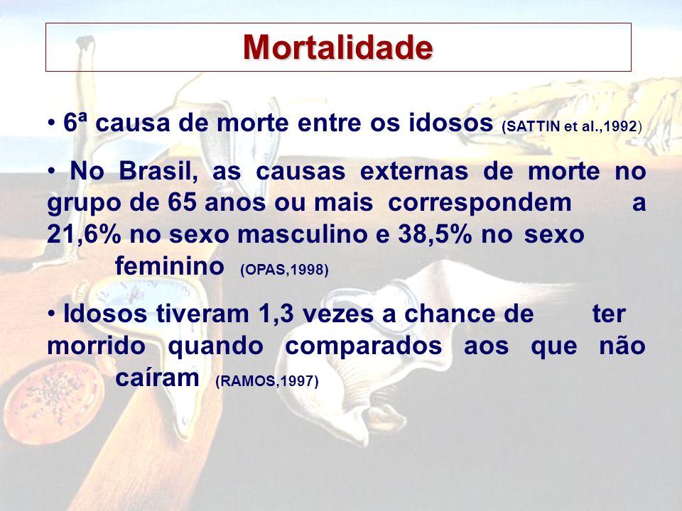 6ª causa de morte entre os idosos (SATTIN et al.,1992) No Brasil, as causas externas de morte no grupo de 65 anos ou maiscorrespondem a 21,6% no sexo masculino e 38,5% no sexo feminino (OPAS,1998) Idosos tiveram 1,3 vezes a chance de ter morrido quando comparados aos que não caíram (RAMOS,1997) Mortalidade