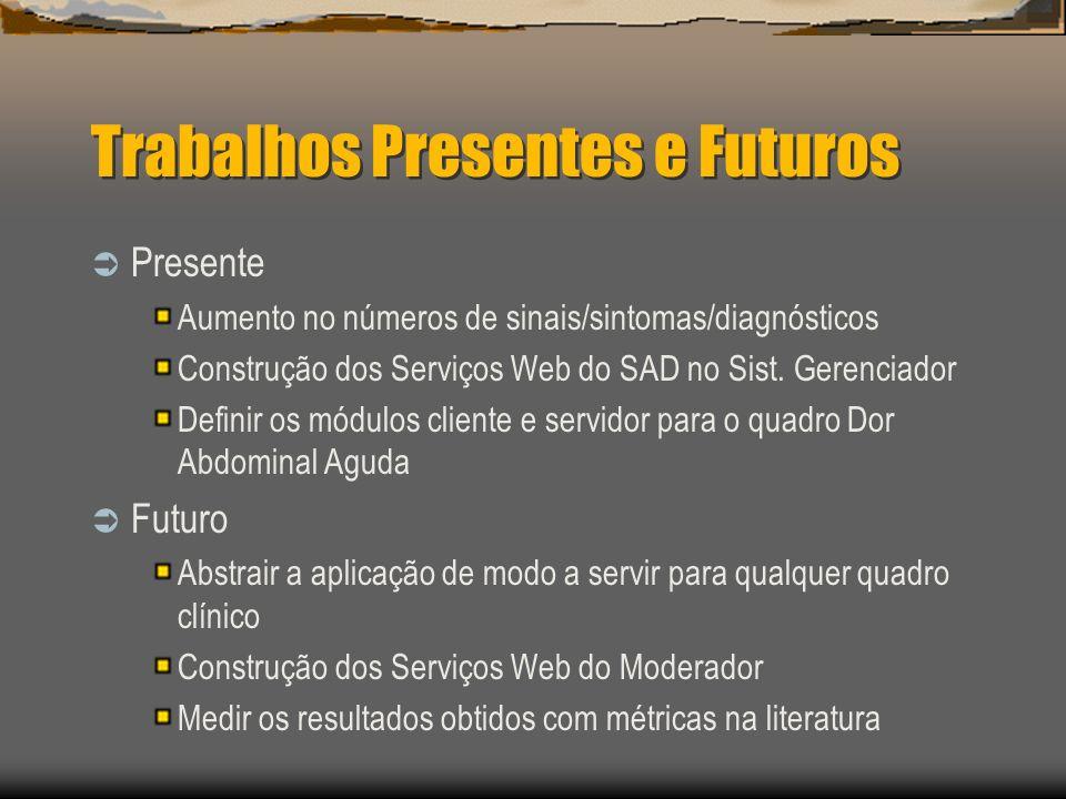 Trabalhos Presentes e Futuros Presente Aumento no números de sinais/sintomas/diagnósticos Construção dos Serviços Web do SAD no Sist.