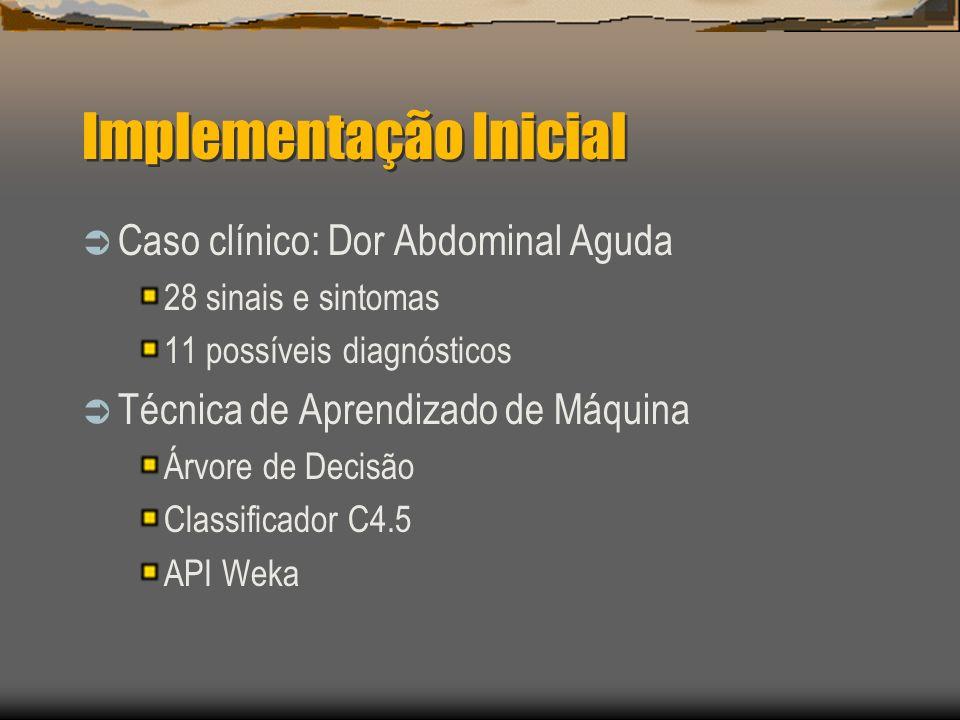 Implementação Inicial Caso clínico: Dor Abdominal Aguda 28 sinais e sintomas 11 possíveis diagnósticos Técnica de Aprendizado de Máquina Árvore de Decisão Classificador C4.5 API Weka