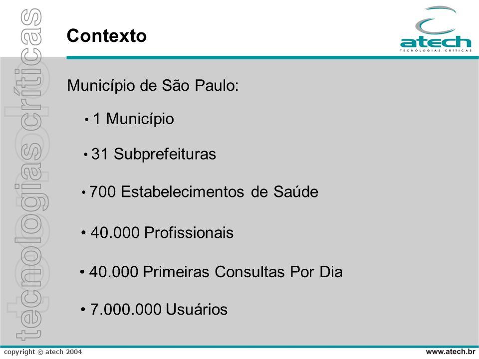 copyright © atech 2004 Contexto Município de São Paulo: 1 Município 31 Subprefeituras 700 Estabelecimentos de Saúde 40.000 Profissionais 7.000.000 Usuários 40.000 Primeiras Consultas Por Dia