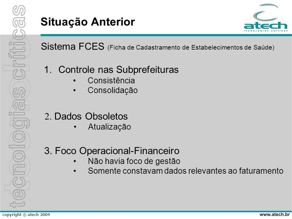 copyright © atech 2004 Situação Anterior Sistema FCES (Ficha de Cadastramento de Estabelecimentos de Saúde) 2.