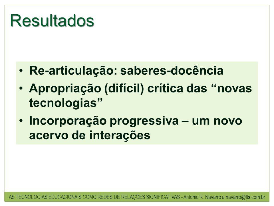 Resultados Re-articulação: saberes-docência Apropriação (difícil) crítica das novas tecnologias Incorporação progressiva – um novo acervo de interaçõe