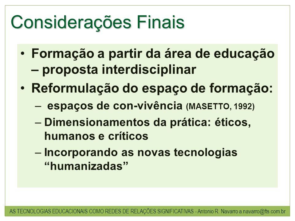 Considerações Finais Formação a partir da área de educação – proposta interdisciplinar Reformulação do espaço de formação: – espaços de con-vivência (