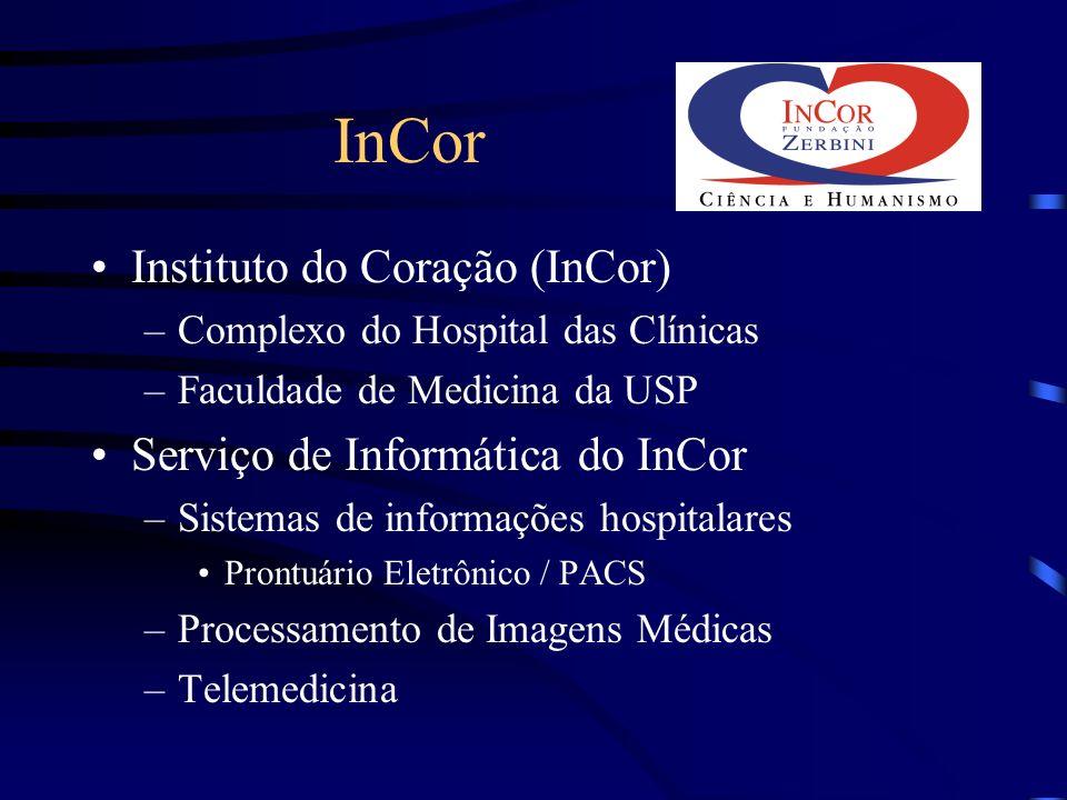 InCor Instituto do Coração (InCor) –Complexo do Hospital das Clínicas –Faculdade de Medicina da USP Serviço de Informática do InCor –Sistemas de infor