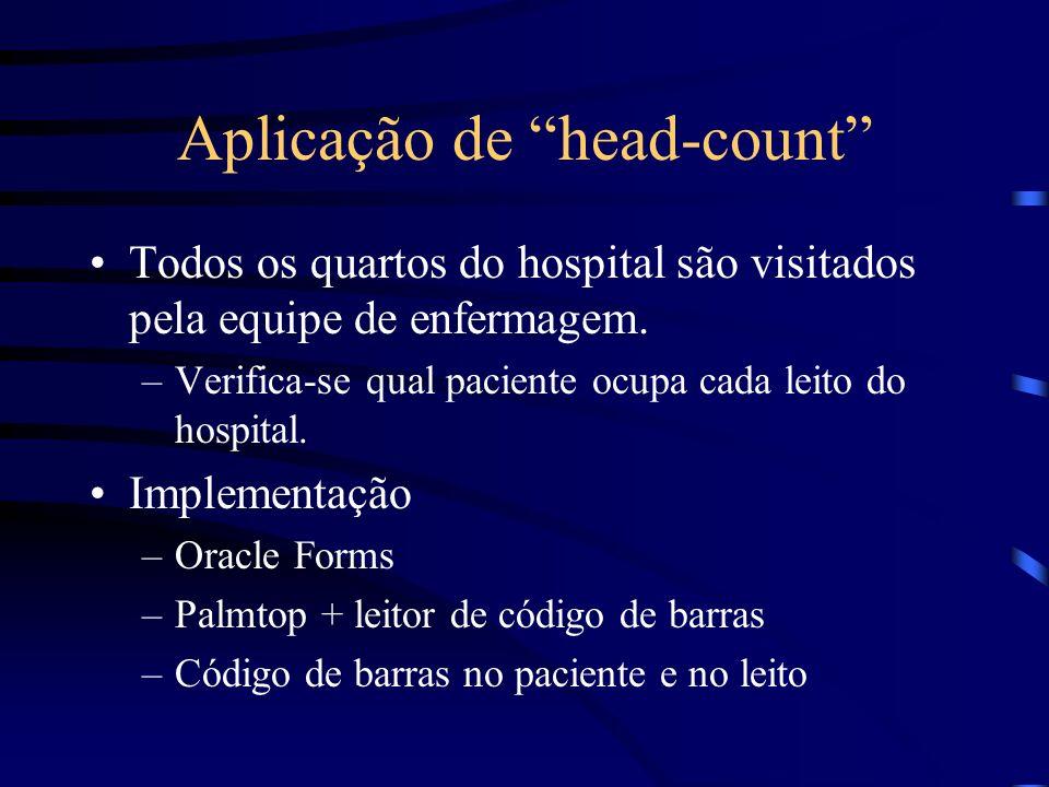 Aplicação de head-count Todos os quartos do hospital são visitados pela equipe de enfermagem. –Verifica-se qual paciente ocupa cada leito do hospital.