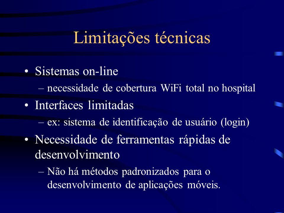 Limitações técnicas Sistemas on-line –necessidade de cobertura WiFi total no hospital Interfaces limitadas –ex: sistema de identificação de usuário (l