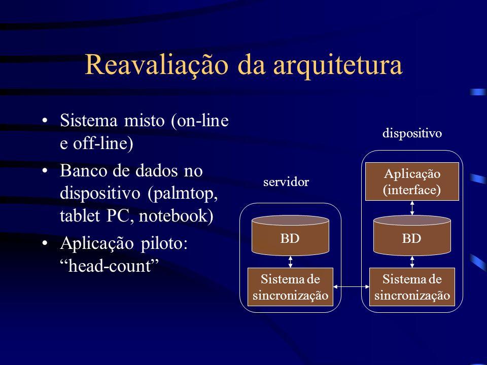 Reavaliação da arquitetura Sistema misto (on-line e off-line) Banco de dados no dispositivo (palmtop, tablet PC, notebook) Aplicação piloto: head-coun