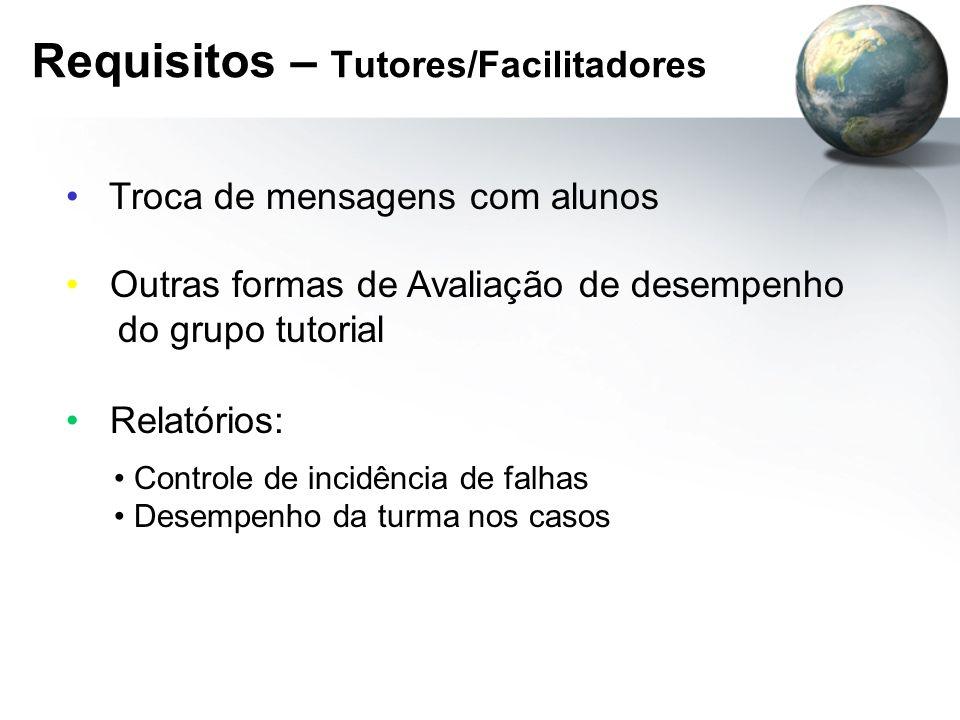 Requisitos – Tutores/Facilitadores Troca de mensagens com alunos Outras formas de Avaliação de desempenho do grupo tutorial Relatórios: Controle de in
