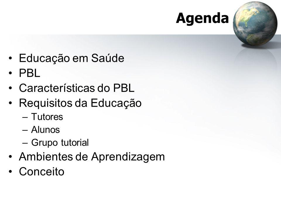 Agenda Educação em Saúde PBL Características do PBL Requisitos da Educação –Tutores –Alunos –Grupo tutorial Ambientes de Aprendizagem Conceito