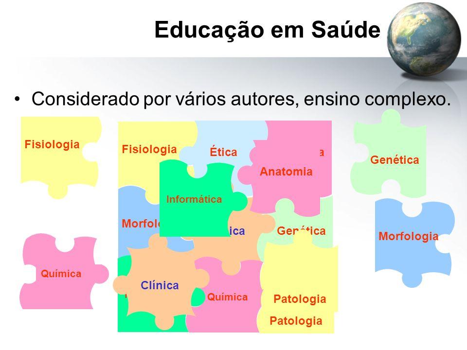 Educação em Saúde Considerado por vários autores, ensino complexo. Fisiologia Anatomia Ética Clínica Morfologia Genética Química Patologia Informática