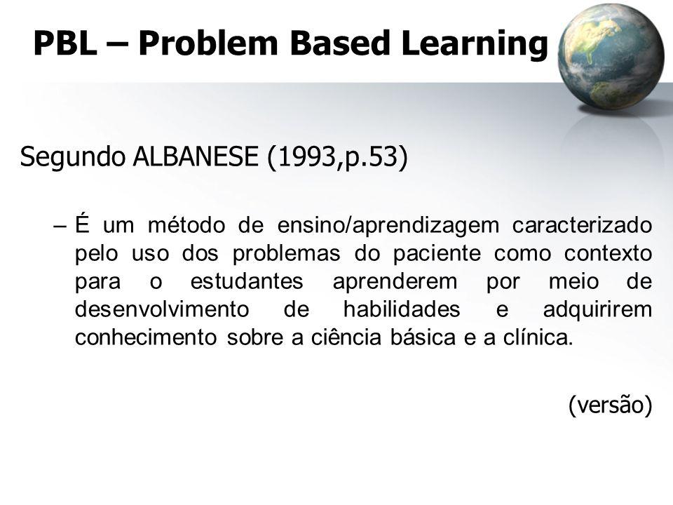 PBL – Problem Based Learning Segundo ALBANESE (1993,p.53) –É um método de ensino/aprendizagem caracterizado pelo uso dos problemas do paciente como co