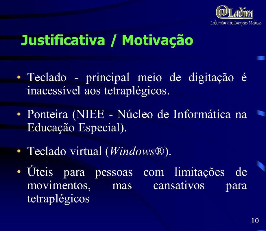 Justificativa / Motivação Teclado - principal meio de digitação é inacessível aos tetraplégicos. Ponteira (NIEE - Núcleo de Informática na Educação Es