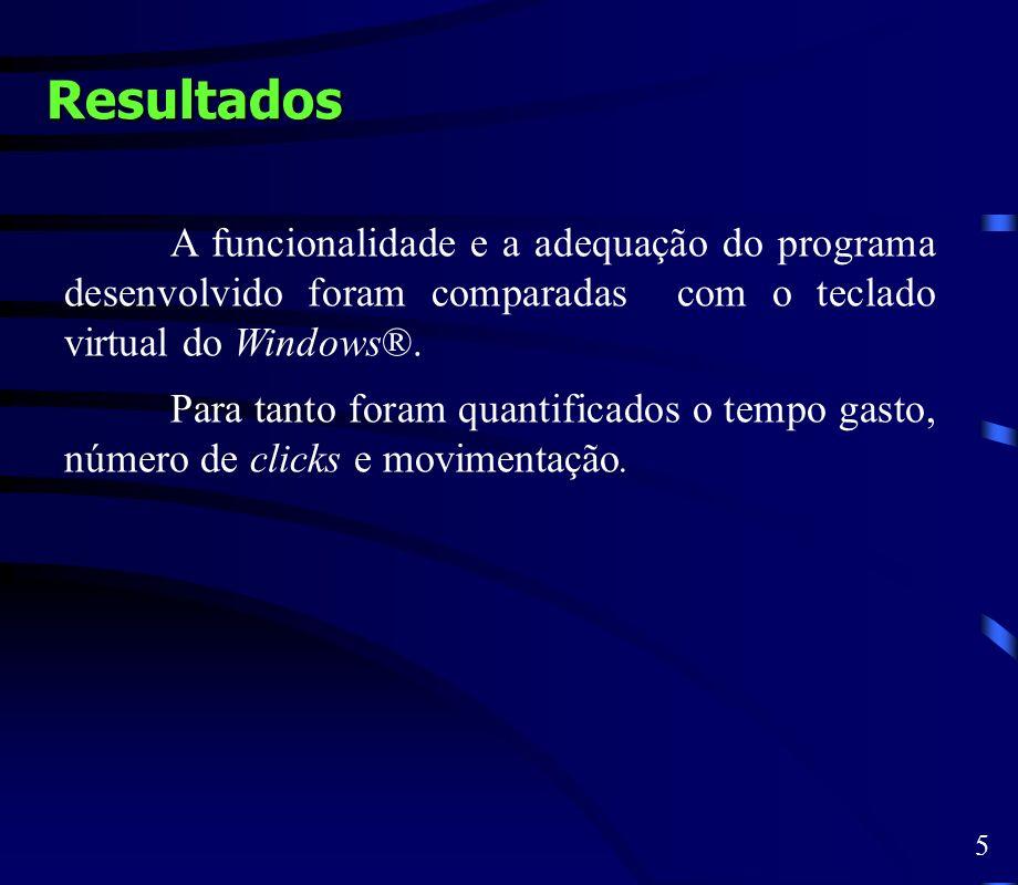 Resultados A funcionalidade e a adequação do programa desenvolvido foram comparadas com o teclado virtual do Windows®. Para tanto foram quantificados