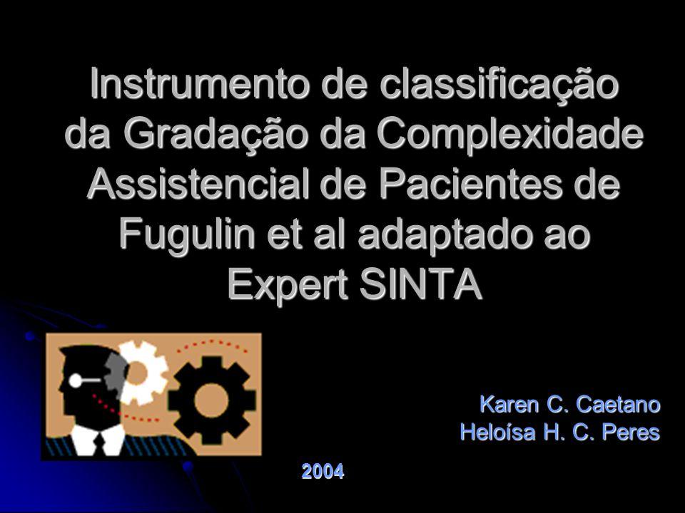 Instrumento de classificação da Gradação da Complexidade Assistencial de Pacientes de Fugulin et al adaptado ao Expert SINTA Karen C. Caetano Heloísa
